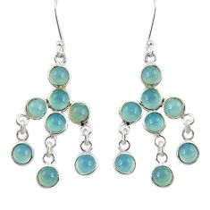 14.08cts natural aqua chalcedony 925 sterling silver chandelier earrings d39812