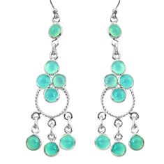 12.96cts natural aqua chalcedony 925 sterling silver chandelier earrings r37381