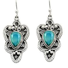 5.63cts natural aqua chalcedony 925 sterling silver dangle earrings d46915