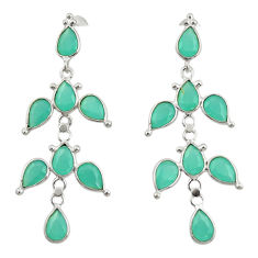 12.96cts natural aqua chalcedony 925 sterling silver dangle earrings r33091
