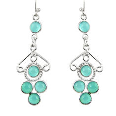6.95cts natural aqua chalcedony 925 sterling silver dangle earrings r33422