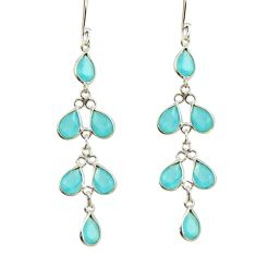 8.26cts natural aqua chalcedony 925 sterling silver dangle earrings r42285