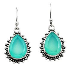11.25cts natural aqua chalcedony 925 sterling silver earrings jewelry r26582