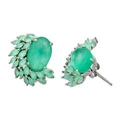 11.27cts natural aqua chalcedony 925 sterling silver stud earrings c10001