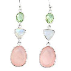 20.40cts natural aqua chalcedony moonstone 925 silver dangle earrings r26003