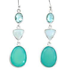 21.01cts natural aqua chalcedony moonstone 925 silver dangle earrings r26012