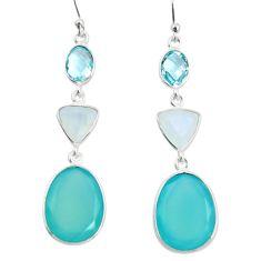 21.44cts natural aqua chalcedony moonstone 925 silver dangle earrings r26013