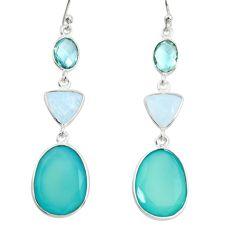 21.01cts natural aqua chalcedony moonstone 925 silver dangle earrings r26015