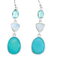 21.01cts natural aqua chalcedony moonstone 925 silver dangle earrings r26019