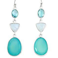 20.95cts natural aqua chalcedony moonstone 925 silver dangle earrings r26020