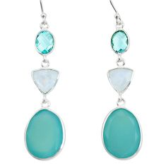 20.37cts natural aqua chalcedony moonstone 925 sterling silver earrings r26345