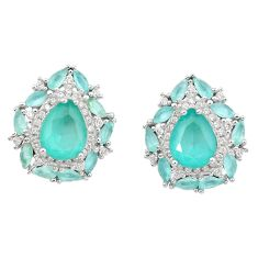 11.56cts natural aqua chalcedony topaz 925 sterling silver earrings c26053