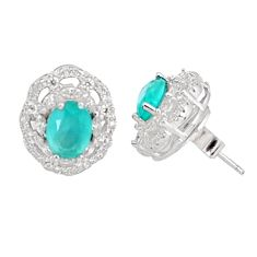 7.51cts natural aqua chalcedony topaz 925 sterling silver stud earrings c19600