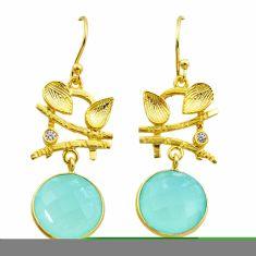 12.07cts natural aqua chalcedony topaz silver 14k gold dangle earrings t44175