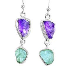 10.79cts natural aquamarine amethyst raw silver dangle handmade earrings r74295