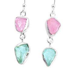 8.87cts natural aquamarine rose quartz raw dangle handmade earrings r74246