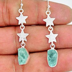 9.34cts natural aquamarine raw 925 silver crescent moon star earrings r89921