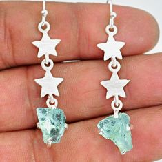 8.49cts natural aquamarine raw 925 silver crescent moon star earrings r89922