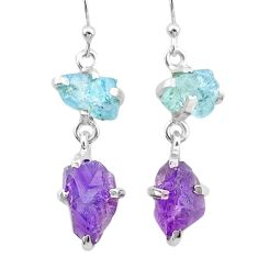 10.56cts natural aquamarine rough amethyst raw 925 silver earrings t25686