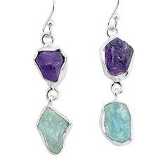 12.10cts natural aquamarine raw amethyst rough silver dangle earrings r93798