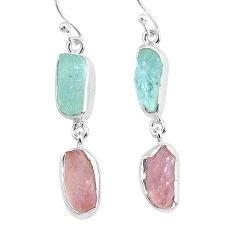 13.09cts natural aquamarine raw rose quartz rough 925 silver earrings r93722