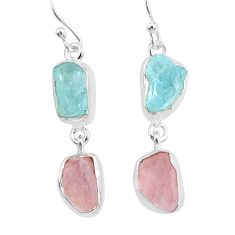 12.05cts natural aquamarine raw rose quartz rough 925 silver earrings r93723