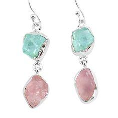 13.50cts natural aquamarine raw rose quartz rough 925 silver earrings r93724