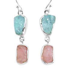 14.40cts natural aquamarine raw rose quartz rough 925 silver earrings r93726