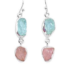 12.58cts natural aquamarine raw rose quartz rough 925 silver earrings r93727
