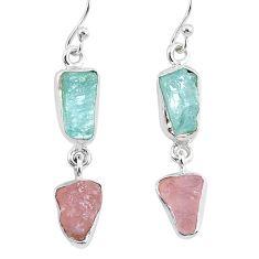 11.57cts natural aquamarine raw rose quartz rough silver earrings r93725