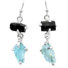 10.18cts natural aquamarine rough tourmaline raw 925 silver earrings t25566