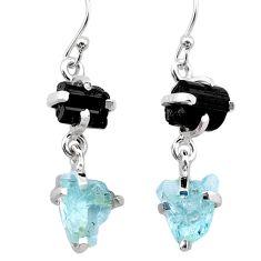 10.65cts natural aquamarine rough tourmaline raw 925 silver earrings t25568