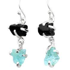 10.65cts natural aquamarine rough tourmaline raw 925 silver earrings t25570