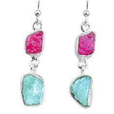 10.79cts natural aquamarine ruby raw 925 silver dangle handmade earrings r74290