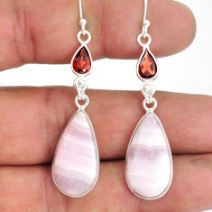 17.17cts natural aragonite garnet 925 sterling silver dangle earrings r86722