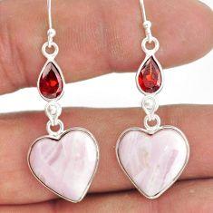 17.78cts natural aragonite garnet 925 sterling silver dangle earrings r86733