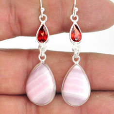 17.96cts natural aragonite garnet 925 sterling silver dangle earrings r86736