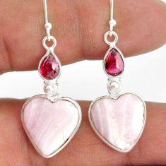 16.07cts natural aragonite garnet 925 sterling silver dangle earrings r86739