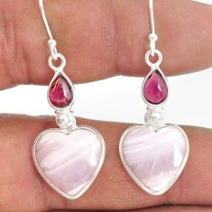 14.91cts natural aragonite garnet 925 sterling silver dangle earrings r86754