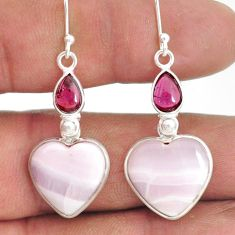 16.04cts natural aragonite garnet 925 sterling silver dangle earrings r86758
