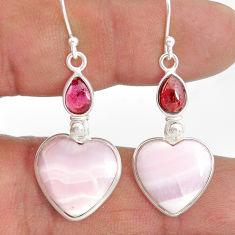 16.13cts natural aragonite red garnet 925 sterling silver dangle earrings r86760