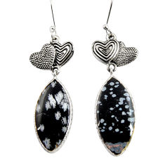 Clearance Sale- 17.39cts natural australian obsidian 925 silver couple hearts earrings d39585