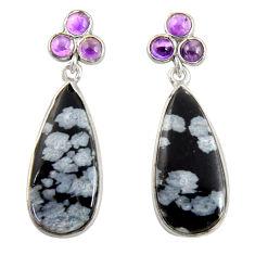 Clearance Sale- 15.93cts natural black australian obsidian 925 silver dangle earrings d39539