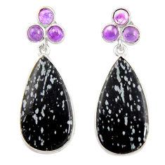 15.93cts natural black australian obsidian 925 silver dangle earrings d39540