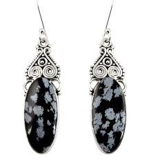Clearance Sale- 17.22cts natural black australian obsidian 925 silver dangle earrings d39583