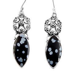 Clearance Sale- 17.22cts natural black australian obsidian 925 silver dangle earrings d39586