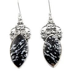 Clearance Sale- 16.18cts natural black australian obsidian 925 silver dangle earrings d39588
