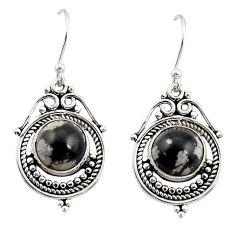 8.06cts natural black australian obsidian 925 silver dangle earrings r30856
