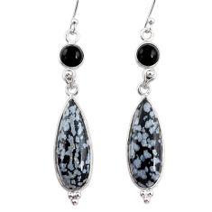 15.74cts natural black australian obsidian 925 silver dangle earrings r68301