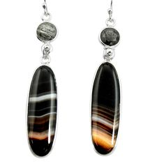 24.06cts natural black botswana agate 925 sterling silver dangle earrings r26021